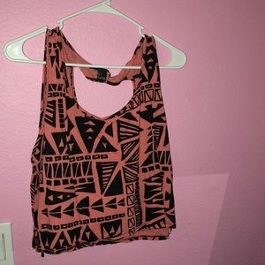 geometrical print coral pink muscle tank